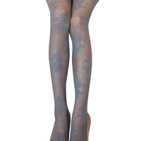 Light Grey Floral Paneled Hosiery Pantyhose Legging