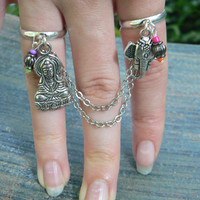 Zen ring, chained double ring,  Ganesh, Buddha, Yoga double ring