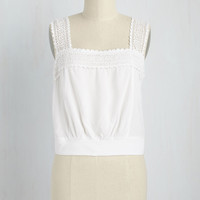 Out on a Trim Top in Ivory | Mod Retro Vintage Short Sleeve Shirts | ModCloth.com