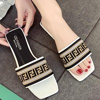 FENDI flat sandals and slippers women's summer new flat-bottomed beach shoes White