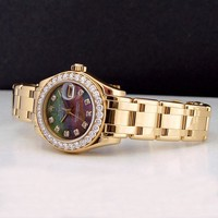 Rolex Lady Datejust Pearlmaster Gold Mother of Pearl Diamond 80298 - WATCH CHEST