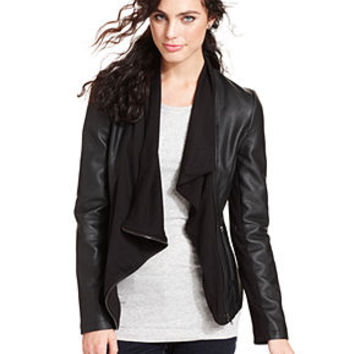 Olive & Oak Jacket, Long-Sleeve Faux-Leather Draped - Jackets & Blazers - Women - Macy's