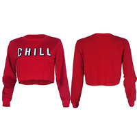 Chill Print Solid Pullover Crop top Hoodies Trendy Top Red Round Neck Solid Short Women Hoodies Casual Jumper Clothing Tops