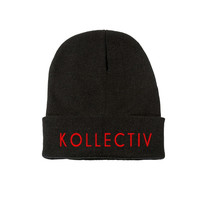 "Kollectiv ""Wordmark"" Unisex Knit Beanie 12"" Fold (Blk/Red)"