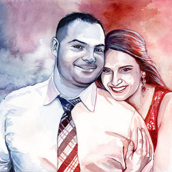 1st WEDDING ANNIVERSARY custom PORTRAIT - Watercolor custom painting of a couple