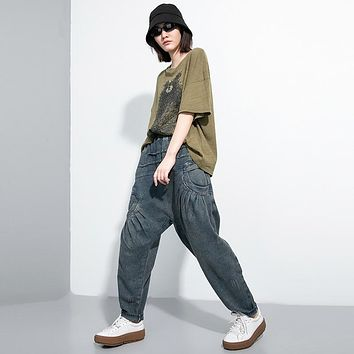 Nikaio Pleated Denim Pants - Blue