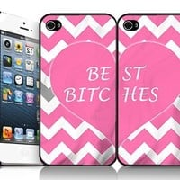 Best Bitches Pink White and Single Grey Chevron with Pink Heart BFF Best Friends Set of Two (2) iPhone 4/4s Case By MC