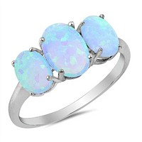 Triple Oval Blue Lab Opal Set in Sterling Silver Band