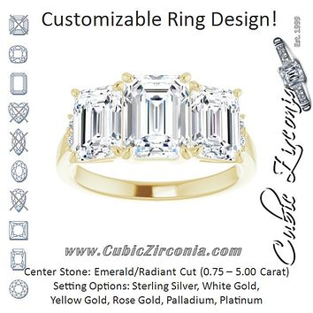 Cubic Zirconia Engagement Ring- The Skylah (Customizable Triple Radiant Cut Design with Quad Vertical-Oriented Round Accents)
