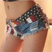 Jeans Shorts with US Flag WQE001