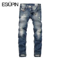 ESIUPIN Fashion straight jeans men ,Slim denim trousers Casual style jeans masculina plus size yp63