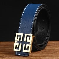Givenchy Men Fashion Smooth Buckle Belt Leather Belt Blue G