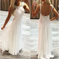 Open Back Prom Dresses,White Prom Dresses,Long Evening Dress