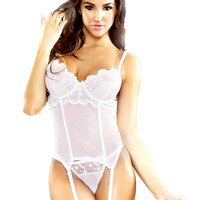 Embroidered Bustier & Matching G-String Set