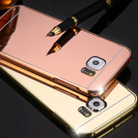 Case For Samsung S6 Edge Luxury Aluminum Metal Frame + Clear Mirror Hard Back Cover For Samsung Galaxy S6 G920 Phone Accessories