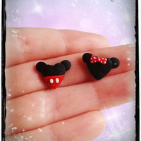 Mickey and Minnie Mouse inspired chibi heart earrings in polymer clay