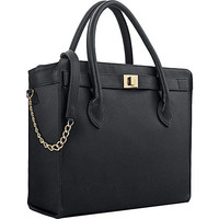 """Executive 15.6"""" Laptop Tote in Black with Gold Chain and Hardware"""