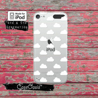 Cloud Pattern White Shapes Tumblr Cute New Case for Clear Transparent Rubber iPod Touch 5th Generation Case 5th Gen Cover or iPod 6th Gen