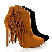 Tavi8 By Liliana, Faux Suede Fringe Ankle Stiletto Booties