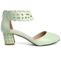 Hoofer Cut Out Ankle Strap Sandals in Mint