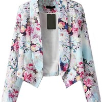 Sheinside® Women's Red Long Sleeve Floral Crop Fitted Blazer