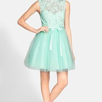 Junior Women's Way-In Sequin Lace Skater Dress with Sash