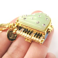 Grand Piano Shaped Locket Pendant Necklace with Rhinestones   Limited Edition