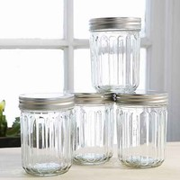 Ribbed 14 Oz Glass Jar Set