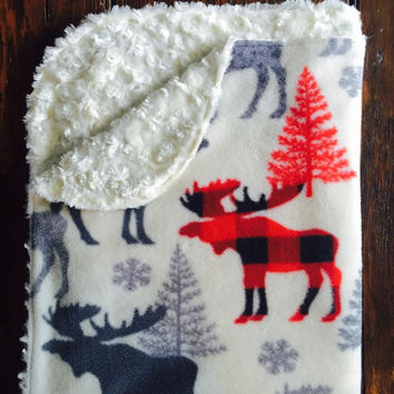 Moose and Fur Baby Blanket  / Moose Baby Bedding / Plaid Nursery / Receiving Blanket / Nursery Decor / Toddler Blanket / Woodland