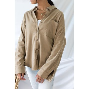 Always Delighted Shacket - Taupe