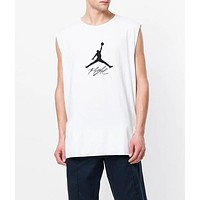 Jordan Summer Men Women Casual Print Sleeveless T-Shirt Sport Top White