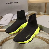 Balenciaga Speed Trainers Black With Yellow Sole Sneakers