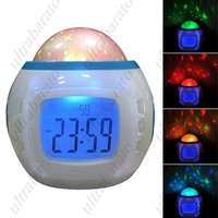 """Fashionable 2.0"""" LCD Music and Starry Sky Alarm Clock w/ Calendar/Thermometer"""