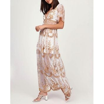 Embroidered Maxi Dress in Multi