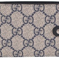 ca spbest Gucci Supreme GG Canvas Leather Men's Bi-fold Wallet Rope Navy 363477