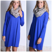 Everest Eves Royal Blue Solid Long Sleeve Dress