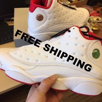 【Free Shipping】Nike Air Jordan 13 XIII History of Flight 13 WHITE RED 414571-103 BASKETBALL SHOES