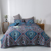 DaDa Bedding Bohemian Native Rustic Navy Blue Geometric Diamond Shapes Bedspread Set (KSX-001)