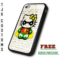iPhone 4 Case iPhone 4s Case iPhone Hello Kitty Case Hello Kitty Robin Case Batman hello Kitty Rubber w/ Metal