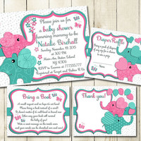 Pink turquoise Elephant baby shower printable invitation set baby girl digital invite with inserts thank you bring a book Diaper Raffle card