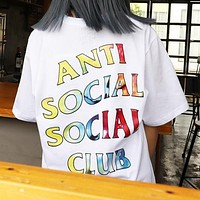Anti Social Social Club Fashion Women Men Casual Letter Print Short Sleeve T-Shirt Top Blouse