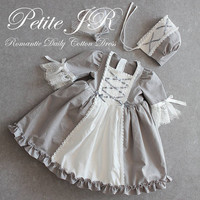 Set 23a-Baby Party Dress(Bonnet+Longdress), Handmade, birthday Dress, Halloween Dress, Infant dress, Cotton Dress, Medieval Dress