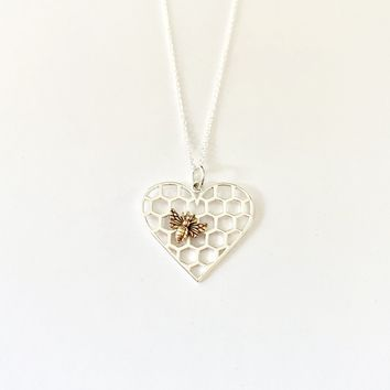 Heart and Bee Charm Necklace