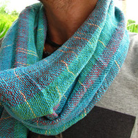 Mens Hand Woven Cotton Scarf / Scarve Stylish Rustic Boho Hipster Man Shawl