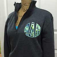 SALE!!! 1/4 Zip Greek Appliqued Monogram Pullover