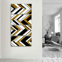 """Original abstract painting. 51x12"""" 4 piece canvas art. Large painting. Gold painting. Unique. Black and gold. Geometric painting"""
