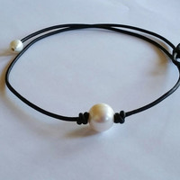 New Freshwater Pearl and Genuine AA Leather Necklace High Quality Choker + Gift Box