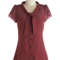ModCloth Darling Mid-length Short Sleeves Everything's Beautiful Top in Crimson