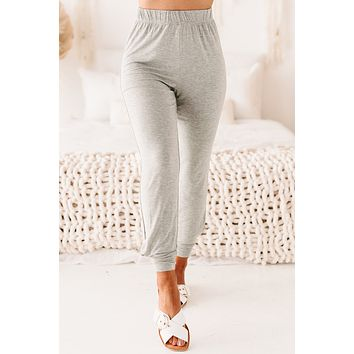 Go With The Flow High Waisted Jogger Pants (Heather Gray)