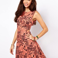 ASOS Sundress In Aztec Print With Cut Out Back